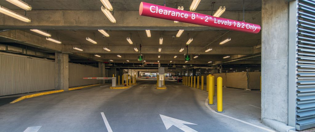 Entry lanes of garage with equipment