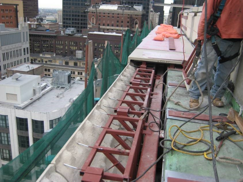View from roof of cornice replacement process