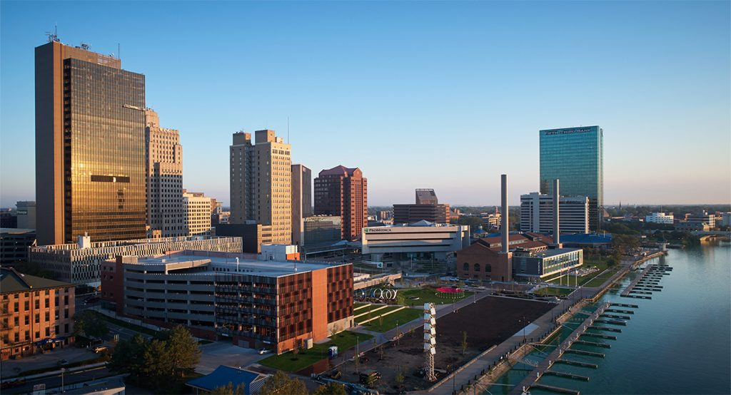 ProMedica HQ parking structure and downtown Toledo skyline