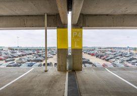 Interior of Nashville International Airport Terminal Garage showing columns and open design