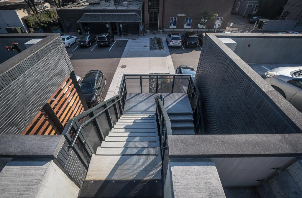 Mill Street parking structure pedestrian staircase
