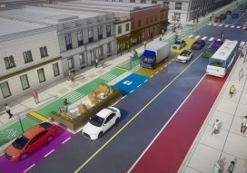 Rendering of a city block with a managed curb, bus lane, and bike lane