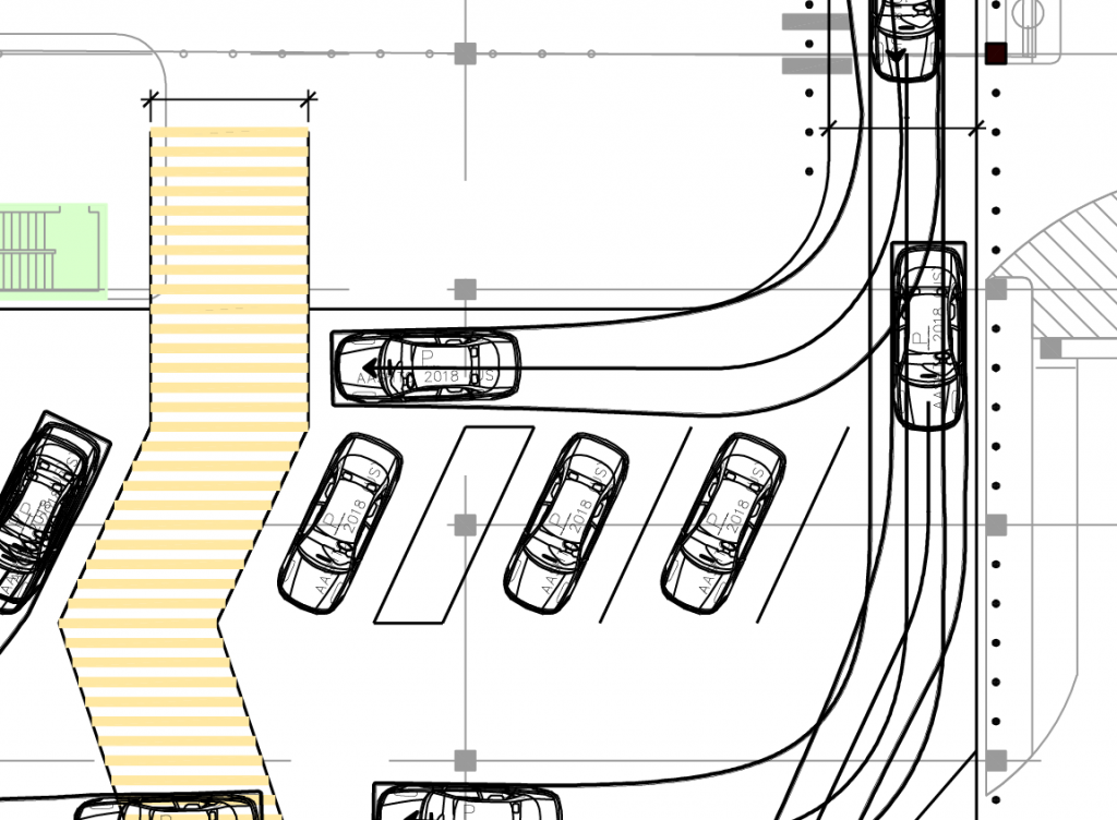 Portion of a design drawing for a Ride App pickup area