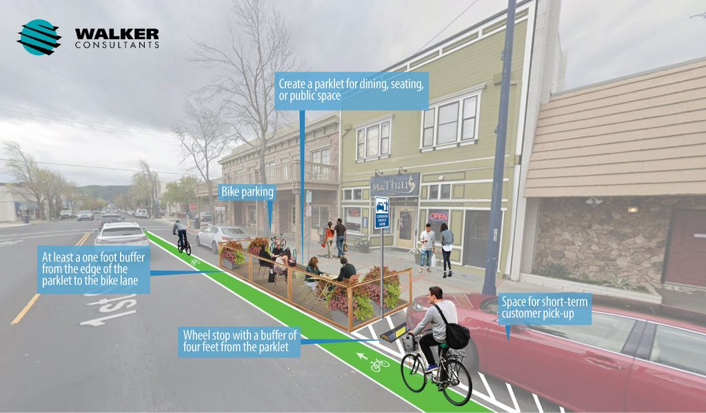 Rendering of a streetscape in Benicia with a bike lane and parklet