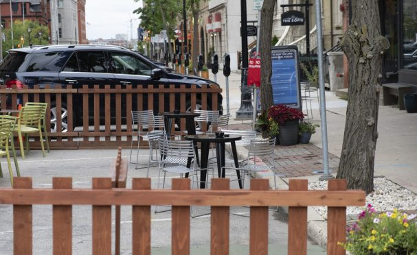 Parking spots in a city converted to outdoor dining