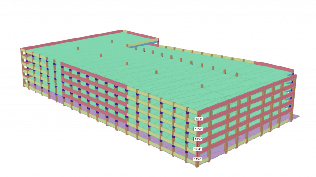 Architectural/engineering drawing of a parking garage