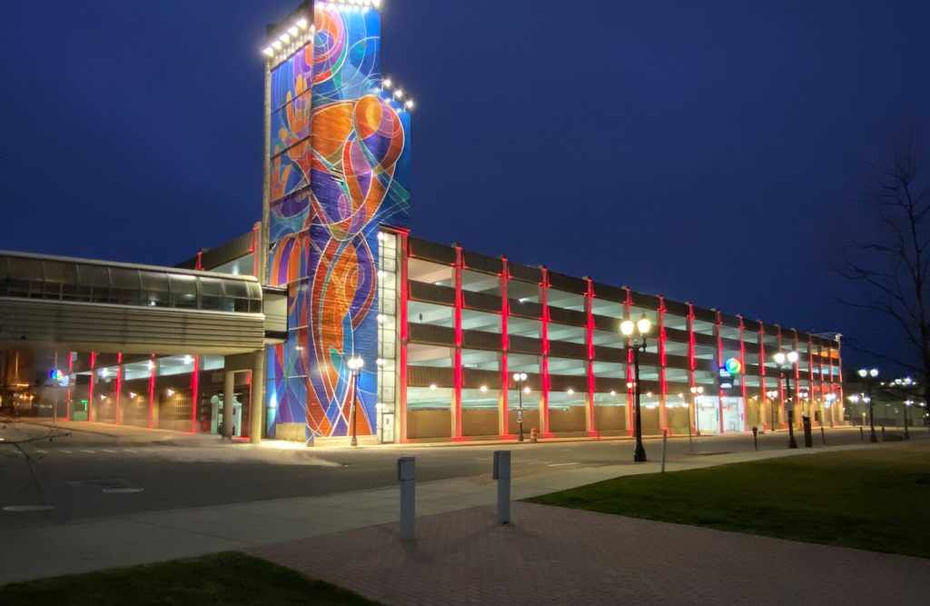 """Exterior of Lansing parking structure at night after """"extreme makeover"""""""