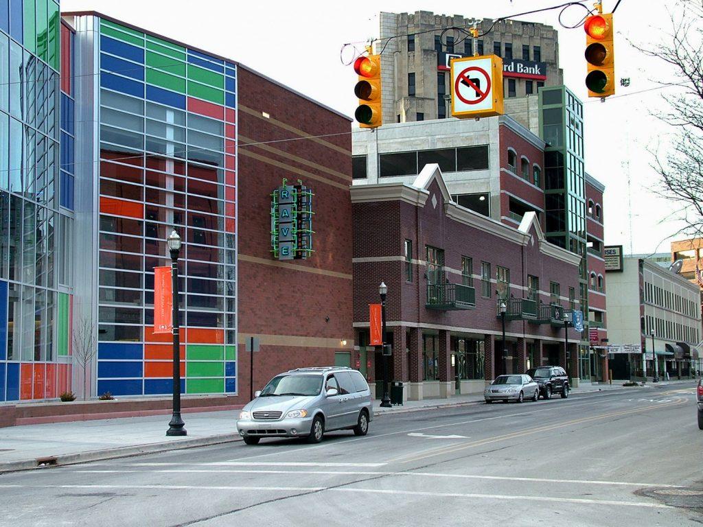 Street level view of Kalamazoo Ramp 3 with cinema