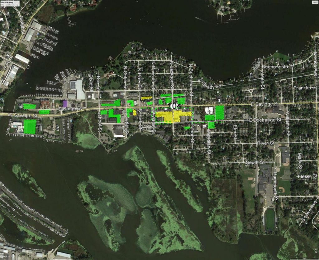 Aerial map of Spring Lake with Walker's analysis overlaid