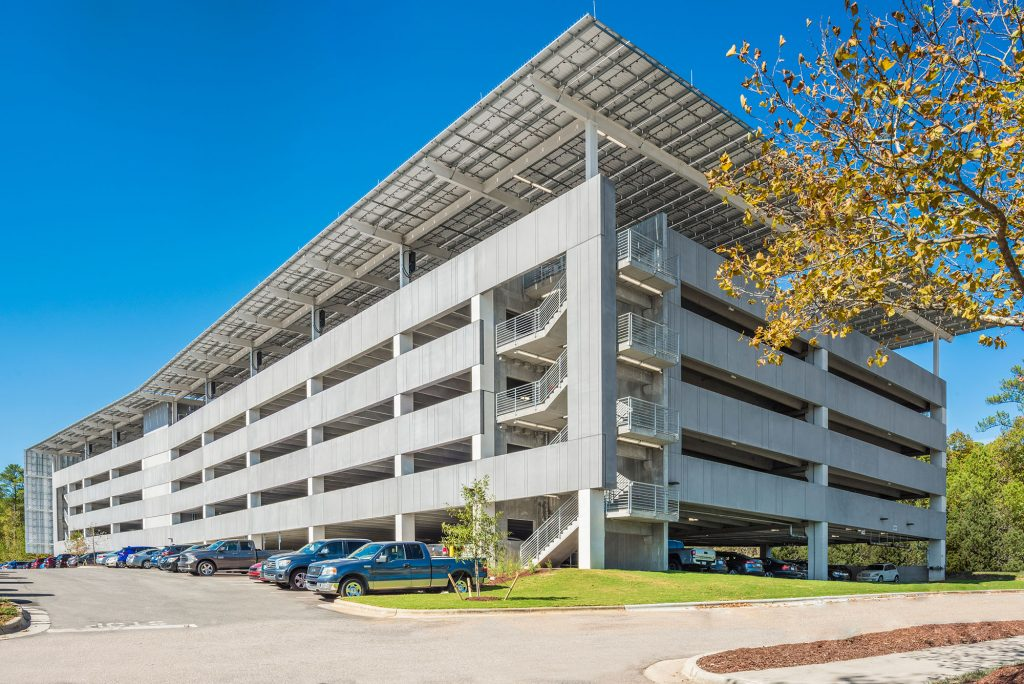 Exterior of Lenovo HQ parking deck