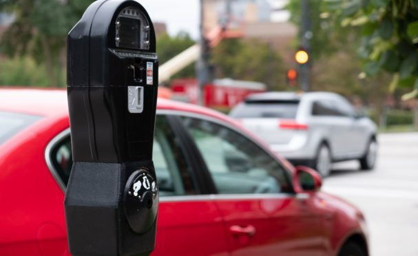 Parking meter near a busy street