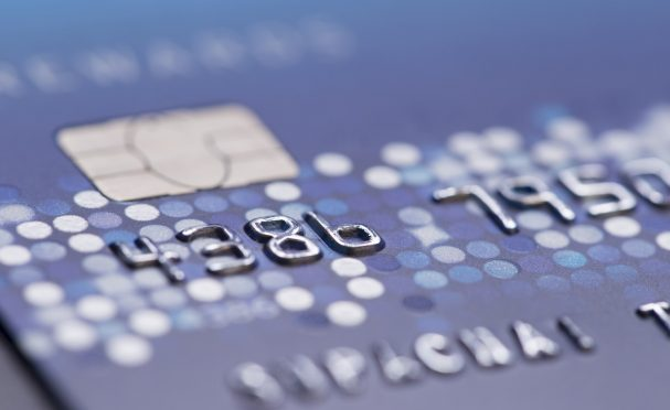Close-up of the chip on a credit card